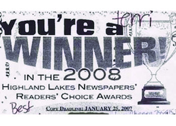 Winner of the Highland Lakes Newspaper's Reader's Choice Awards for 2007 for Best Fishing Guide